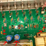 I replaced the electrolytic capacitors after the diode-bridge, and also the tantalums just before and after the 7805/7905 voltage regulators.